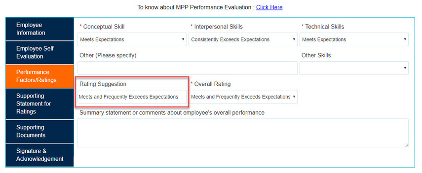 Box highlighting Rating Suggesstion