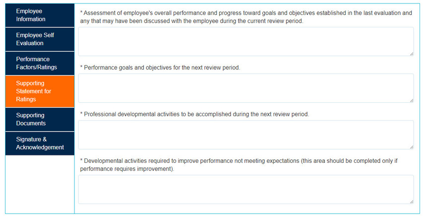Supporting Statement for Ratings screen overview