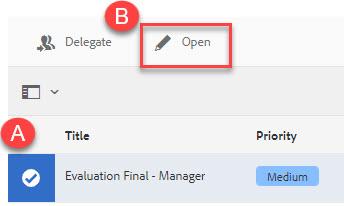 Highlight A: document selected B: Open button