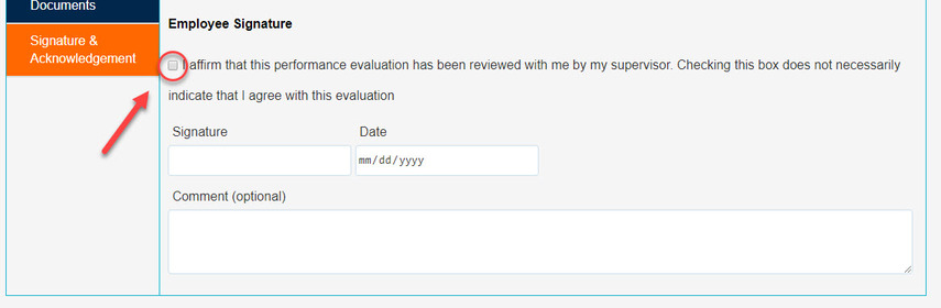 Arrow pointing to Affirm statement checkbox