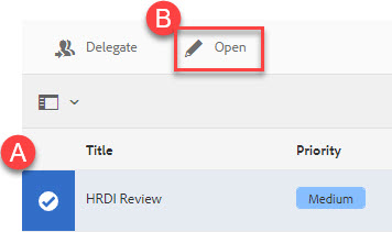 Highlight of A: Document selected B: open button