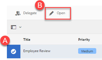 Highlight A: document selected and B: Open button