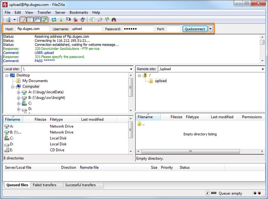 Uploading via FTP client