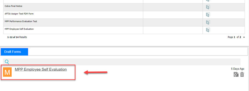Arrow pointing to Saved form under Draft Forms