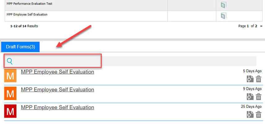 Arrow pointing to Draft Forms Search box
