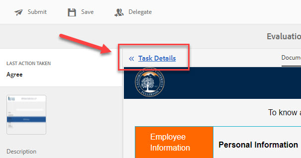 Arrow pointing to Task Details link