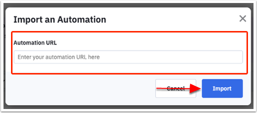 Import an automation modal
