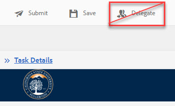 Arrow pointing to Delegate button crossed out