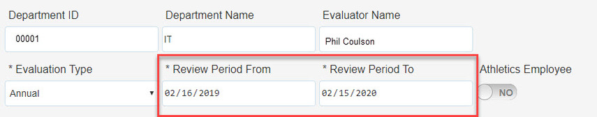 Box highlighting the Review Period From and To fields