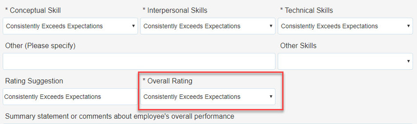 Box highlighting Overall Rating field