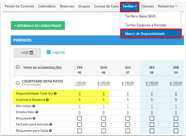 DEMO - Beach Life Testing - Matriz de Disponibilidade - Google Chrome