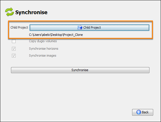 Select another project directory to be synchronised