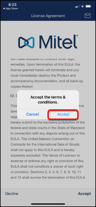 accept terms and conditions