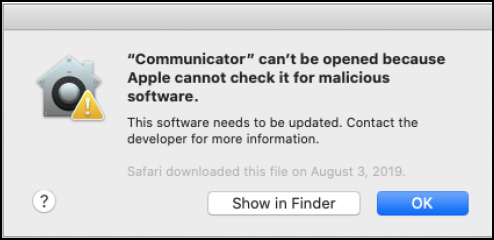 Communicator error