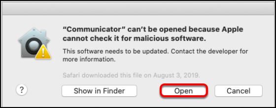 Communicator open dialog