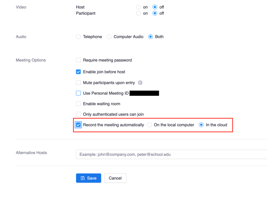 """Image showing Zoom meeting options with """"record the meeting automatically"""" selected and """"in the cloud"""" selected"""