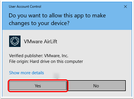 Install Workspace ONE AirLift and confirm User Account Control