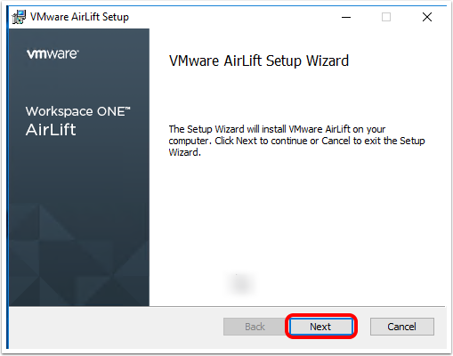 Install Workspace ONE AirLift and begin the AirLift Setup Wizard