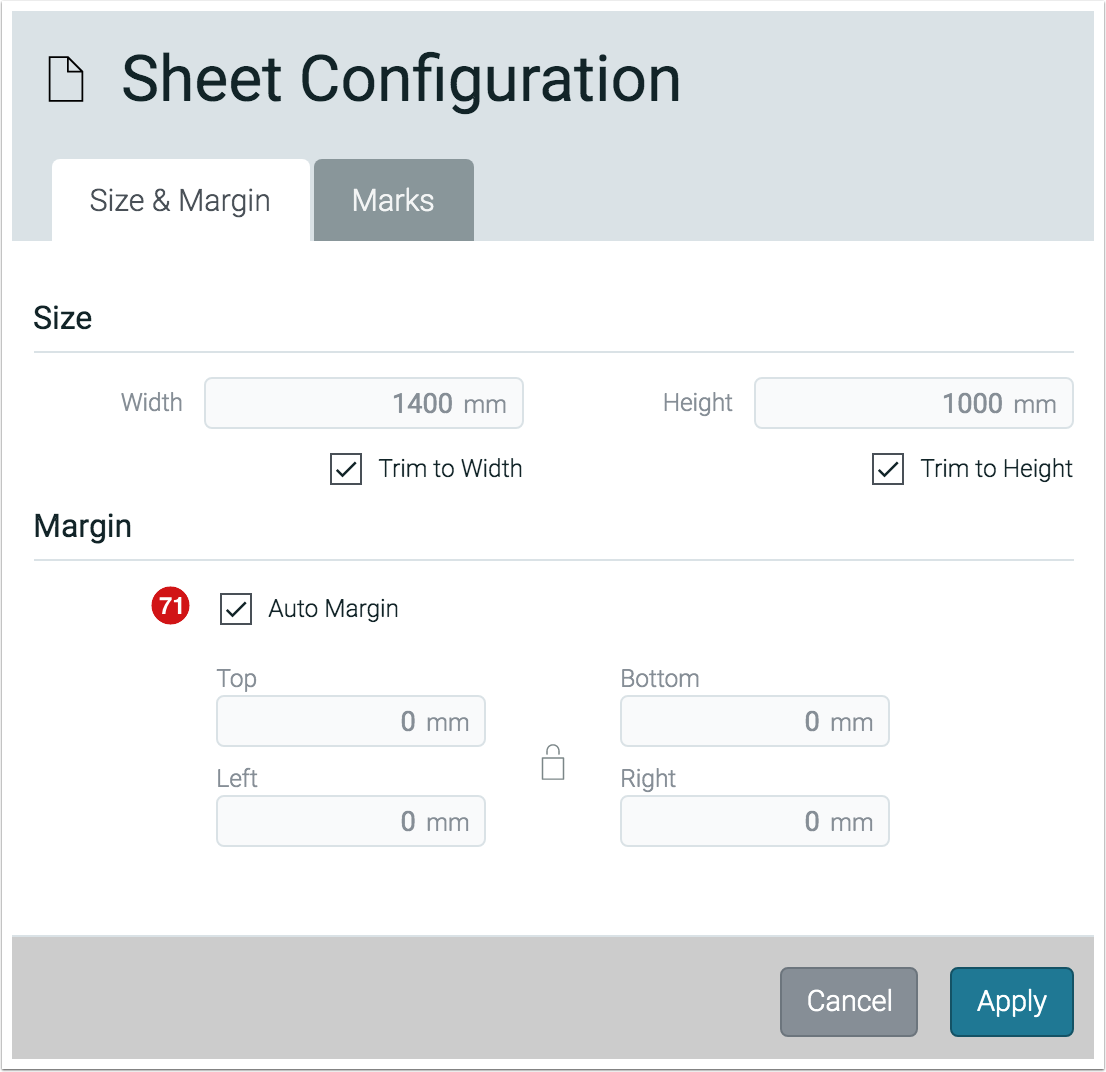 Sheet Configuration - Auto Margins - 1.7.6