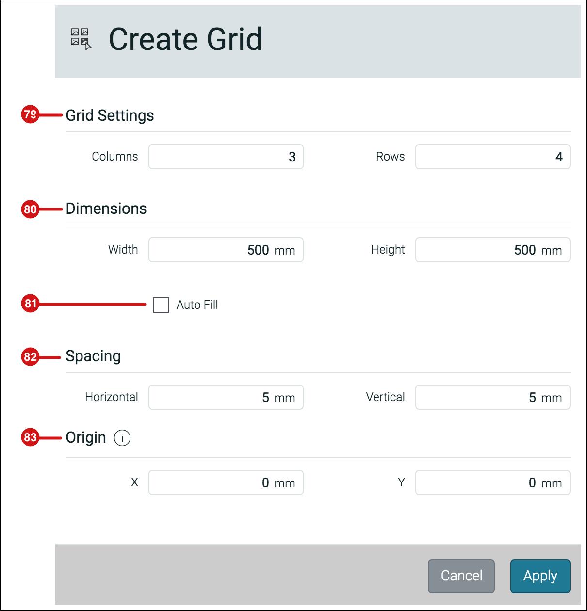 Create Grid dialog - 1.7.6