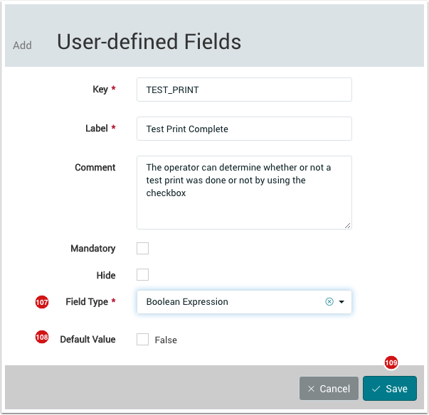 Add User-defined Field - 1.7.6