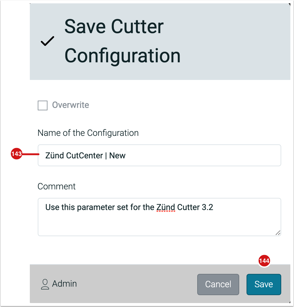 Save Cutter Configuration - 1.7.6