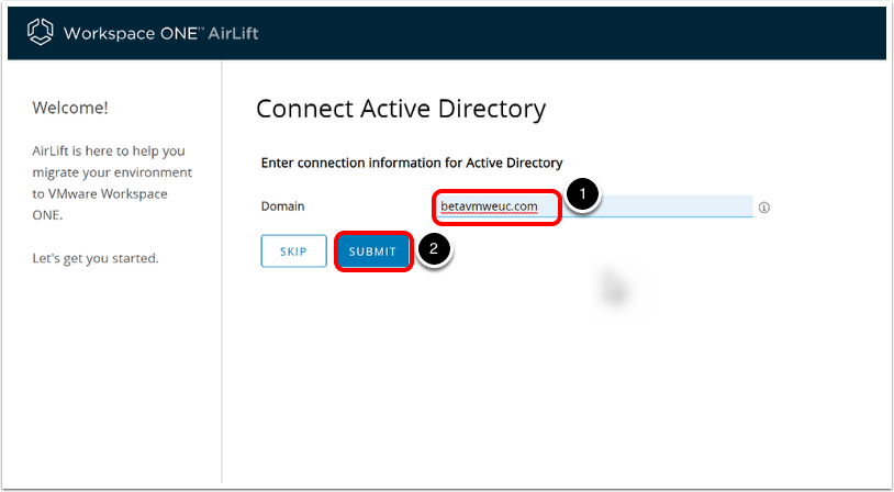 In Workspace ONE AirLift, connect to Active Directory