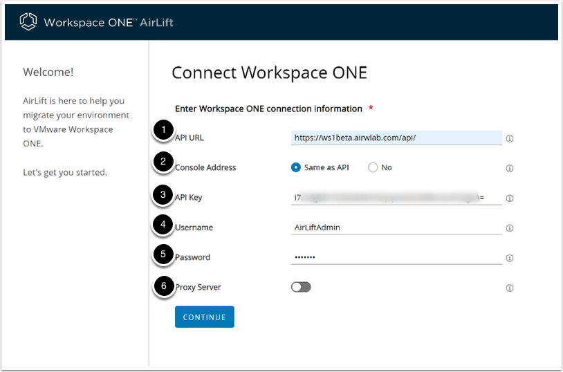 AirLift - Connect Workspace ONE Example