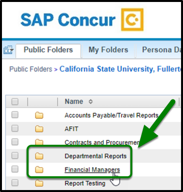 Locate the Departmental Reports or the Financial Managers Report and click on it.