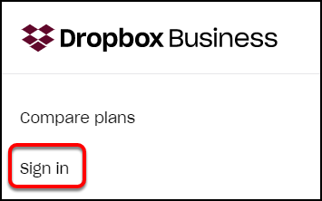 Dropbox sign-in link