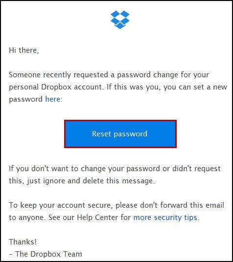 Password change email