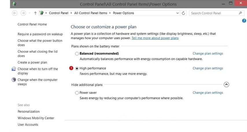 Control Panel > Energy Save Mode