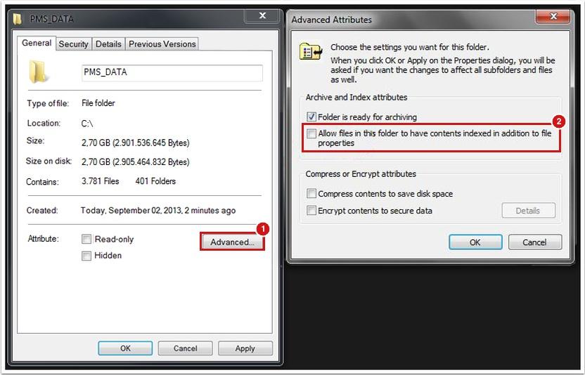 Properties dialog for the PMS_Data Folder