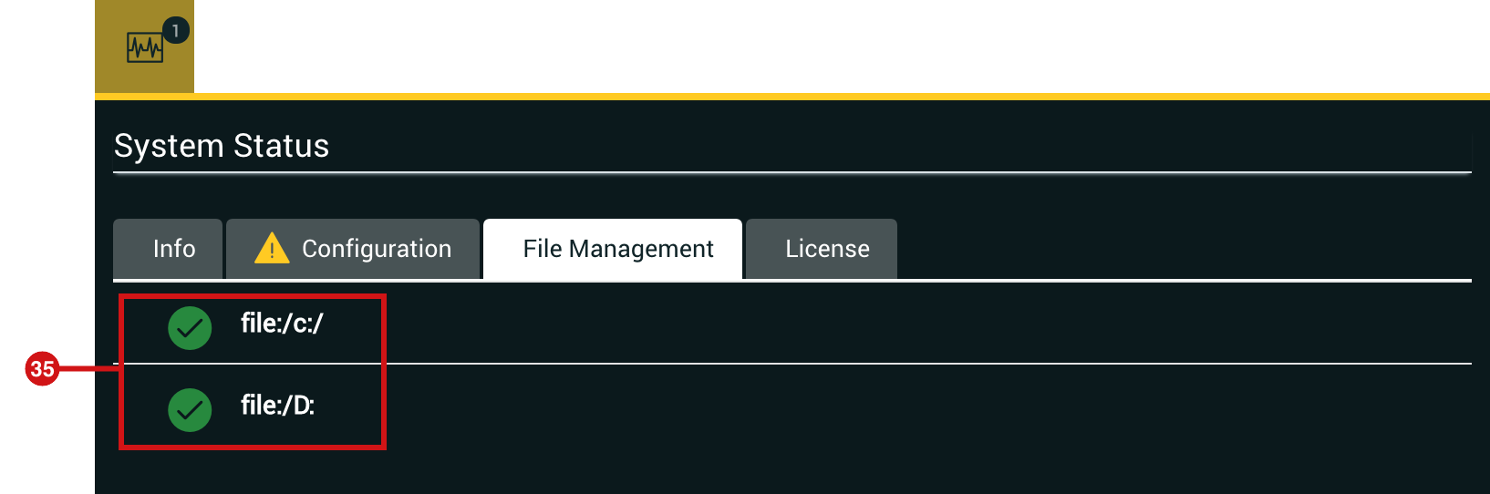 System Status File Management Tab
