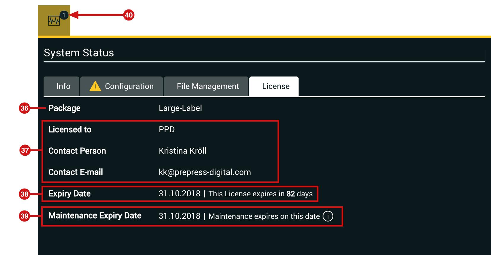 System Status License Tab