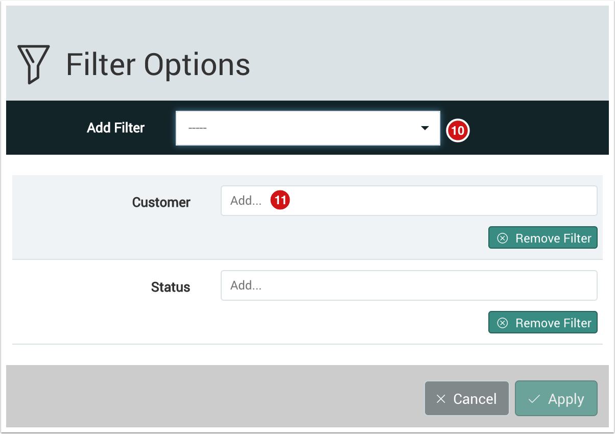 Filter Options dialog with Customer and Status chosen