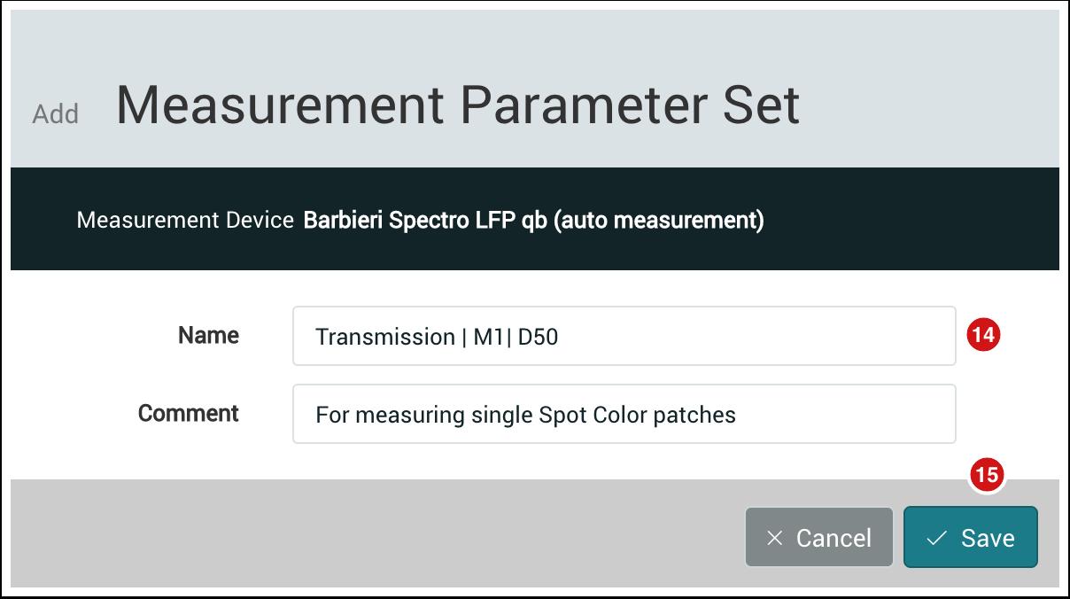 Add Measurement Parameter Set