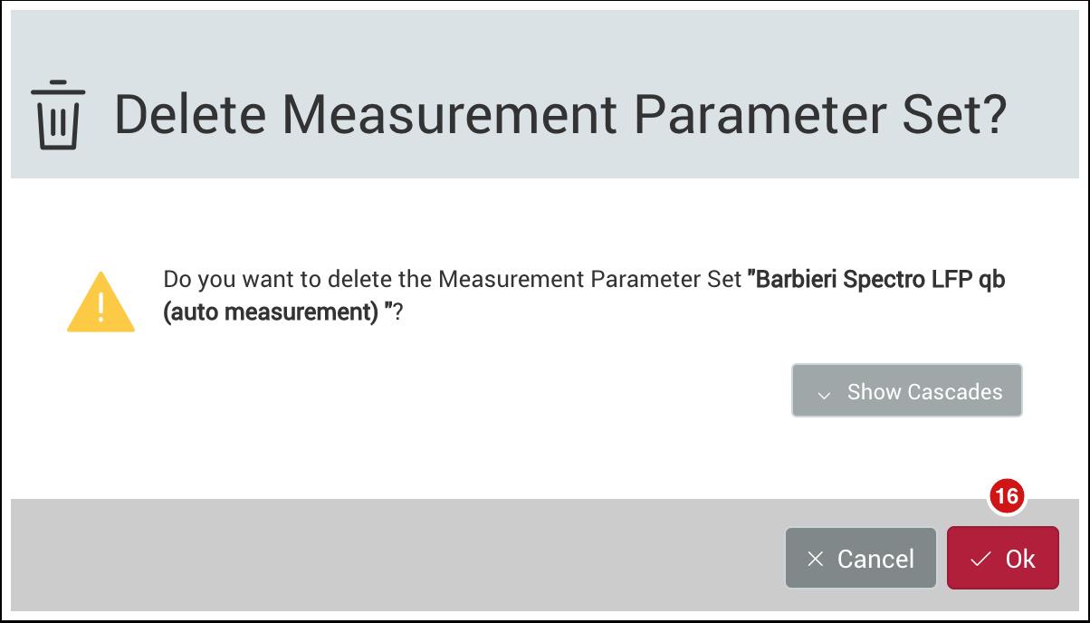 Delete Measurement Parameter Set