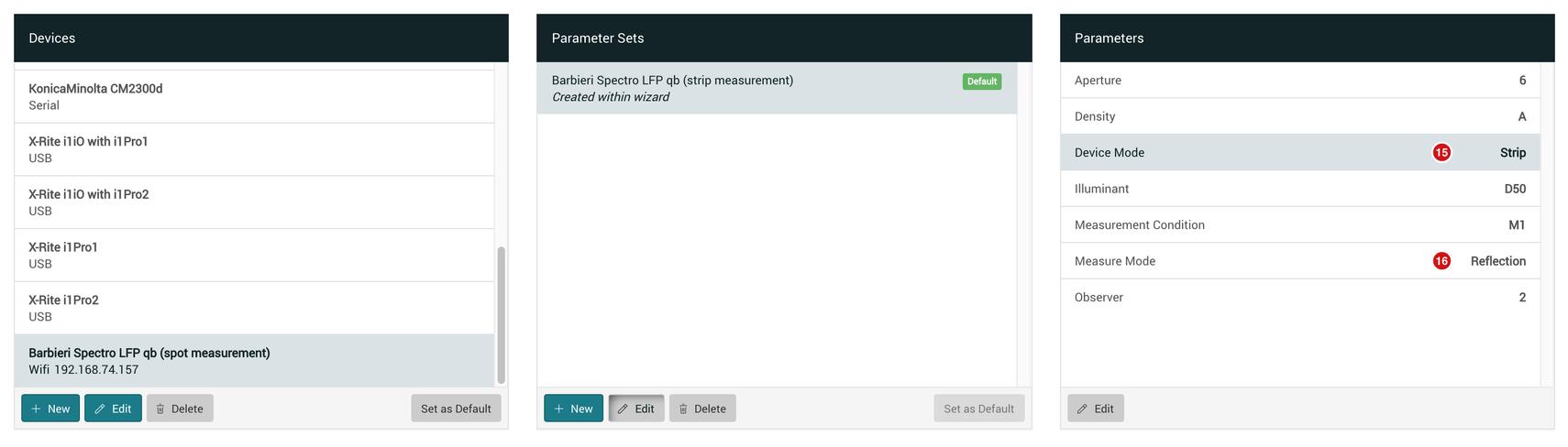 Spectro LFP qb strip measurements