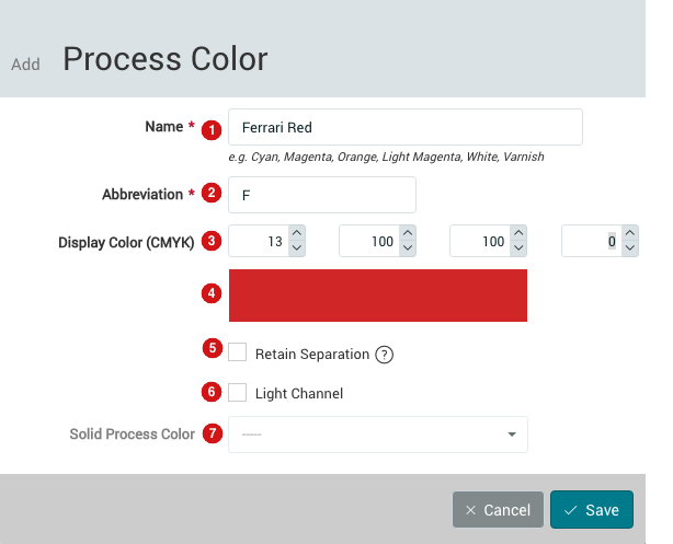 Add Process Color dialog
