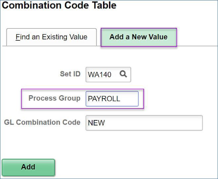 Combo Code Table search page