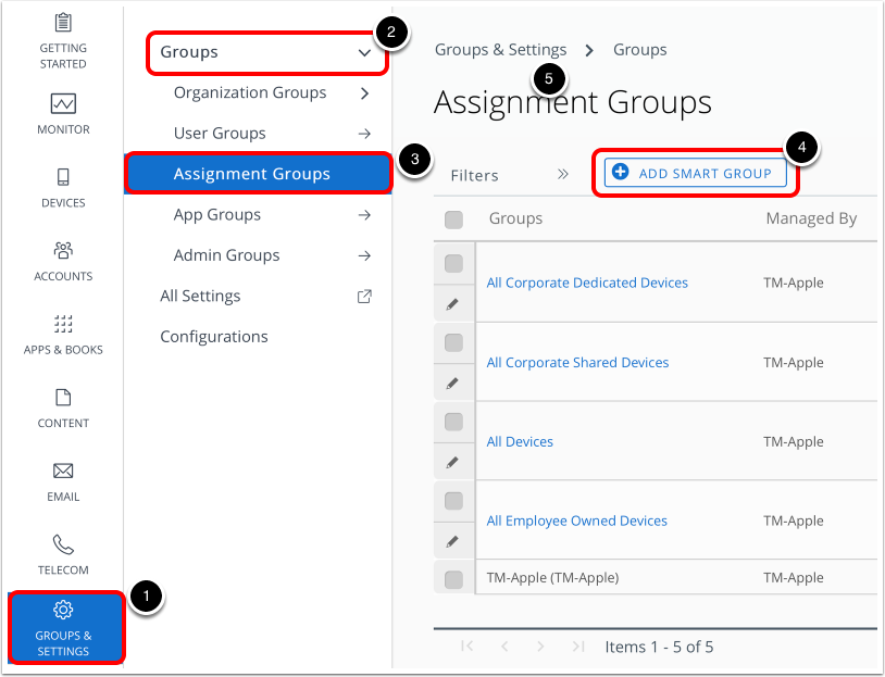 upgrade macOS and add smart group in Workspace ONE UEM admin console