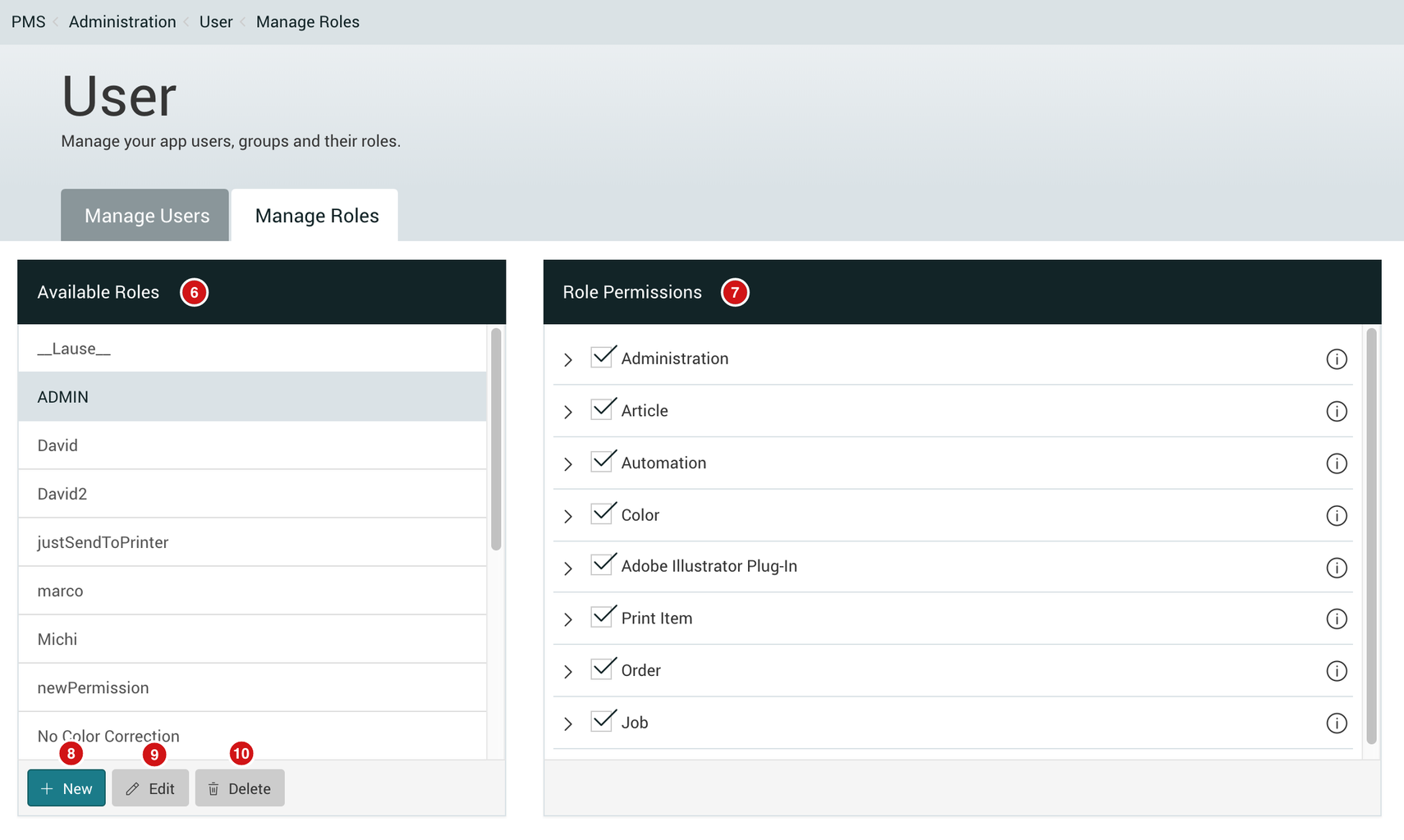 manage roles tab with role permissions