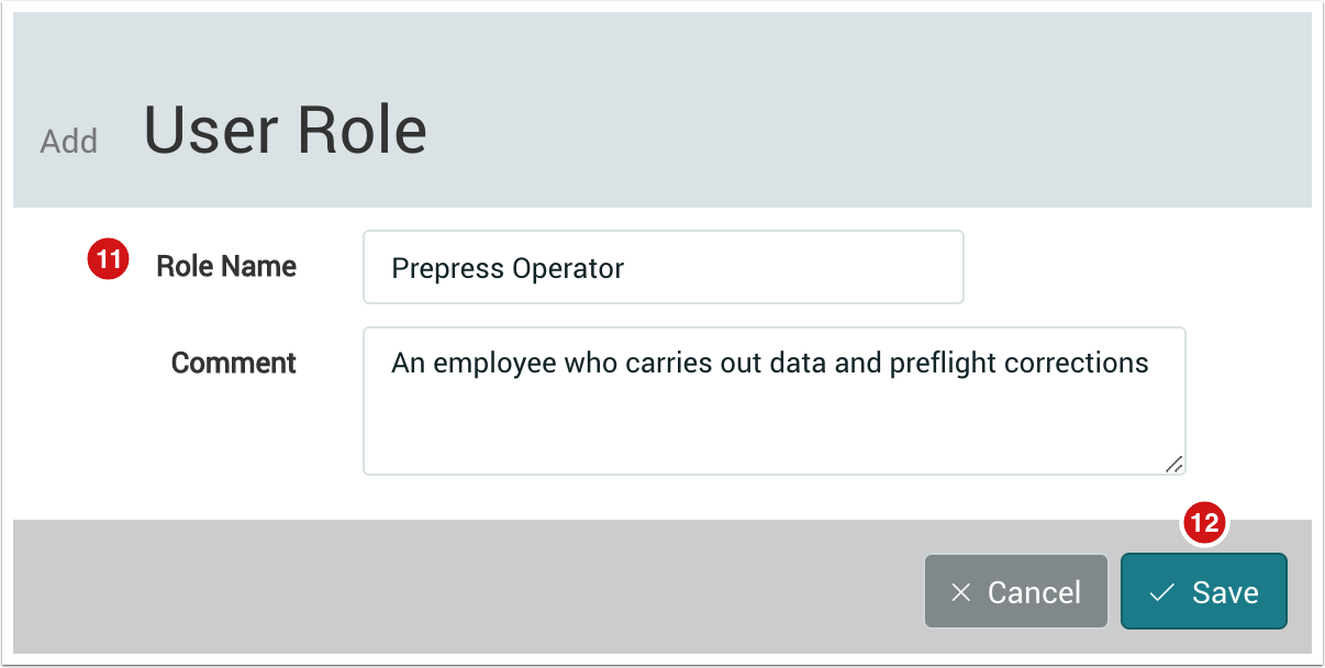 the add user role dialog