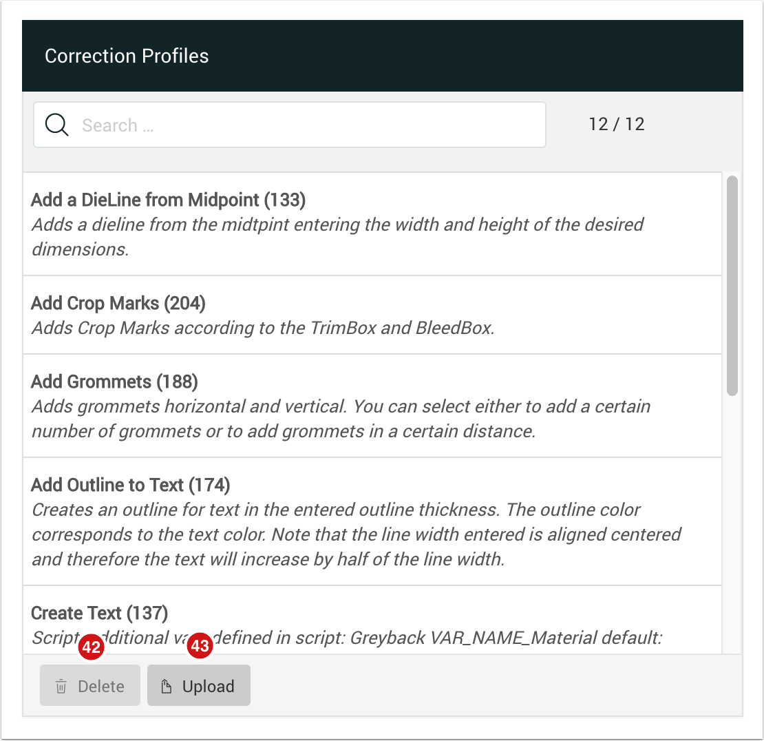 Correction Profiles