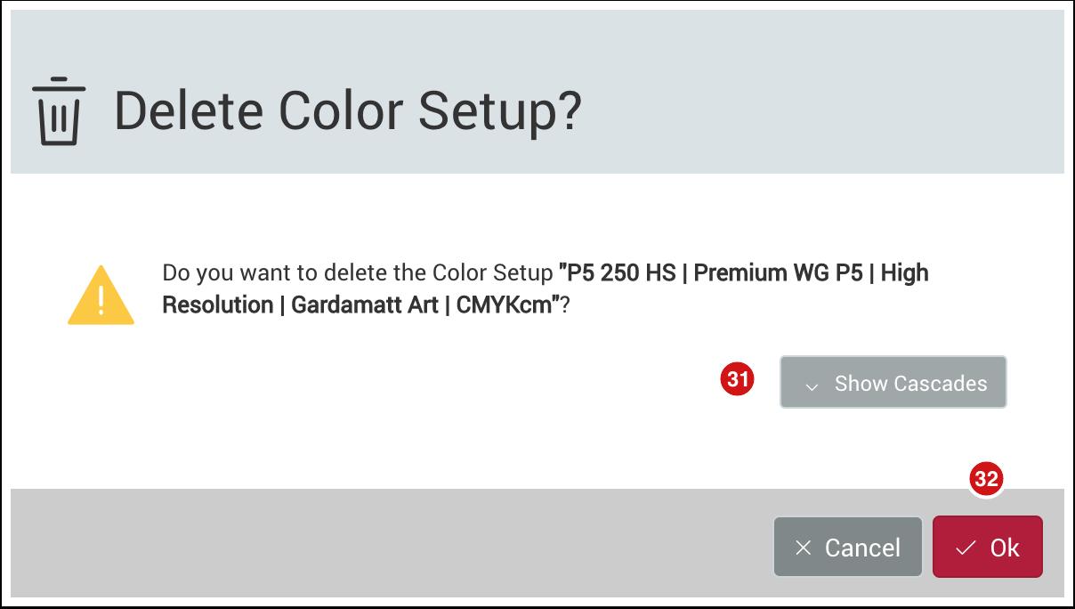 The Delete Color Setup dialog
