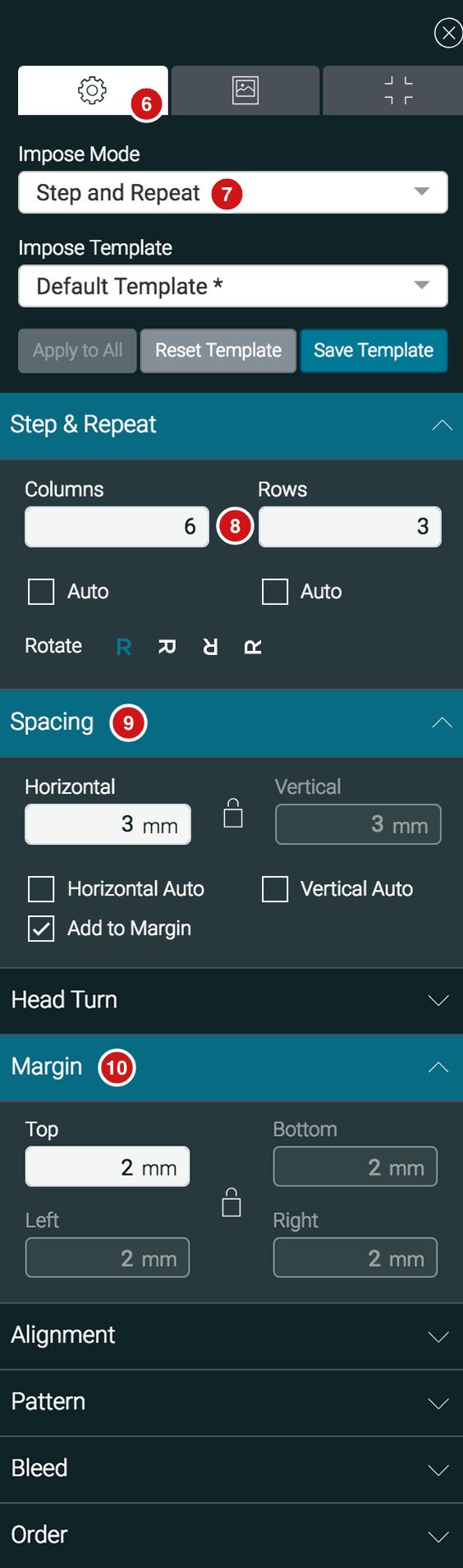 Impose settings