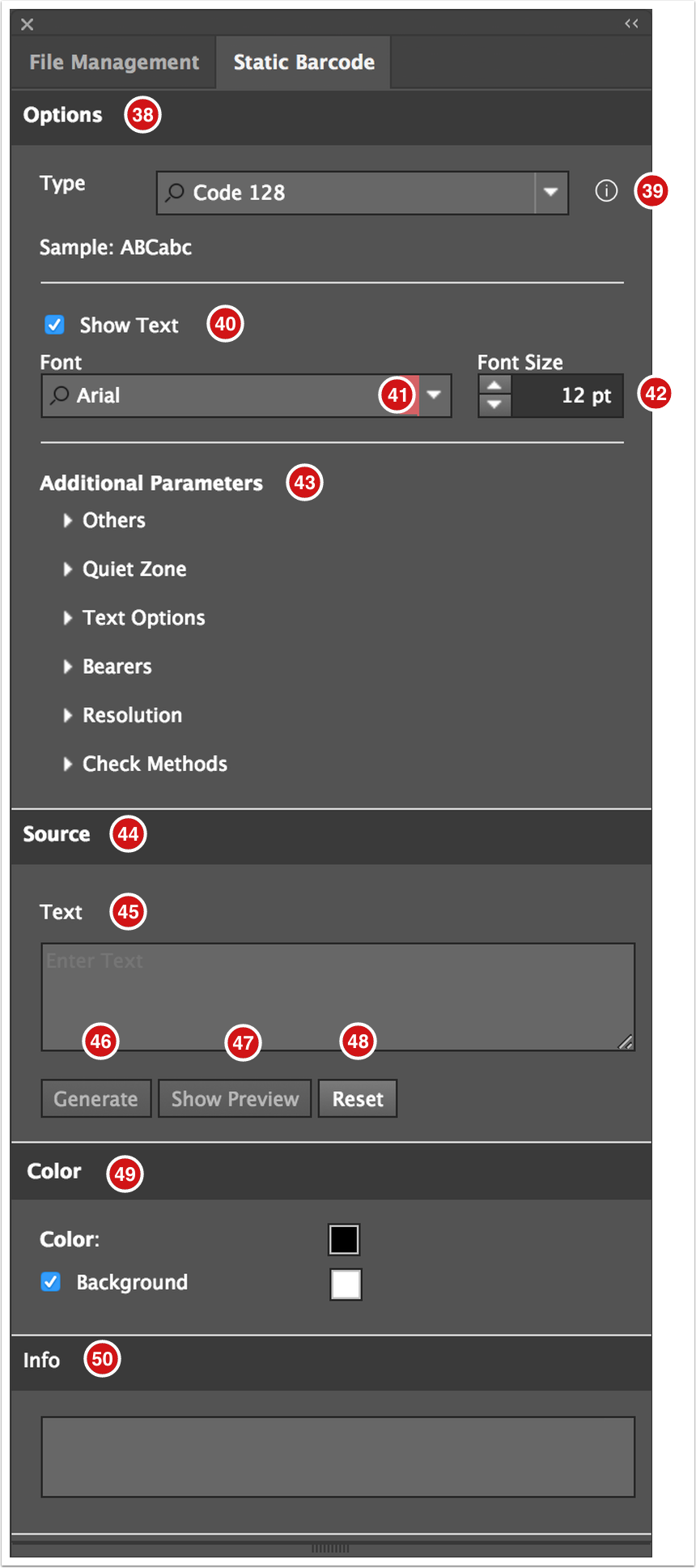 Adobe Illustrator Plug-in - Static Barcode panel