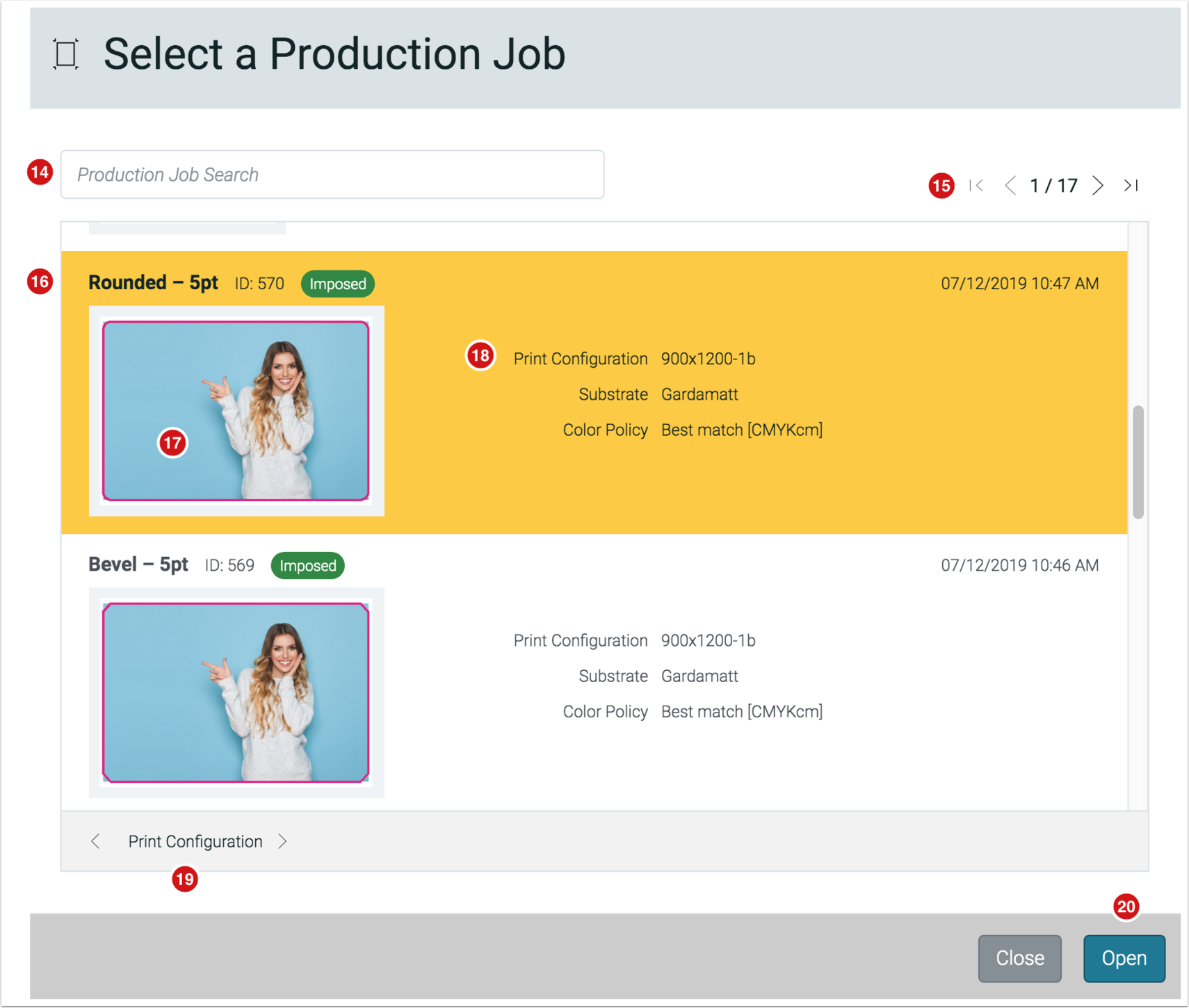 Select a Production Job - 1.7.5