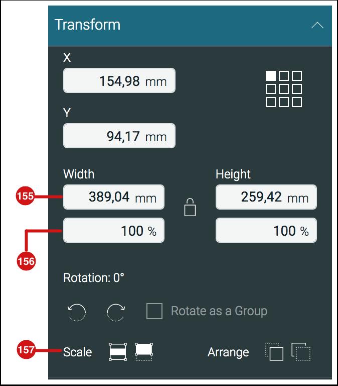 Transform panel - Scaling